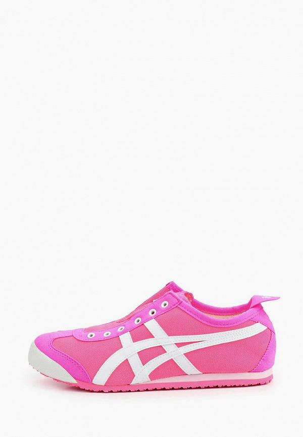 женские низкие кроссовки onitsuka tiger, розовые