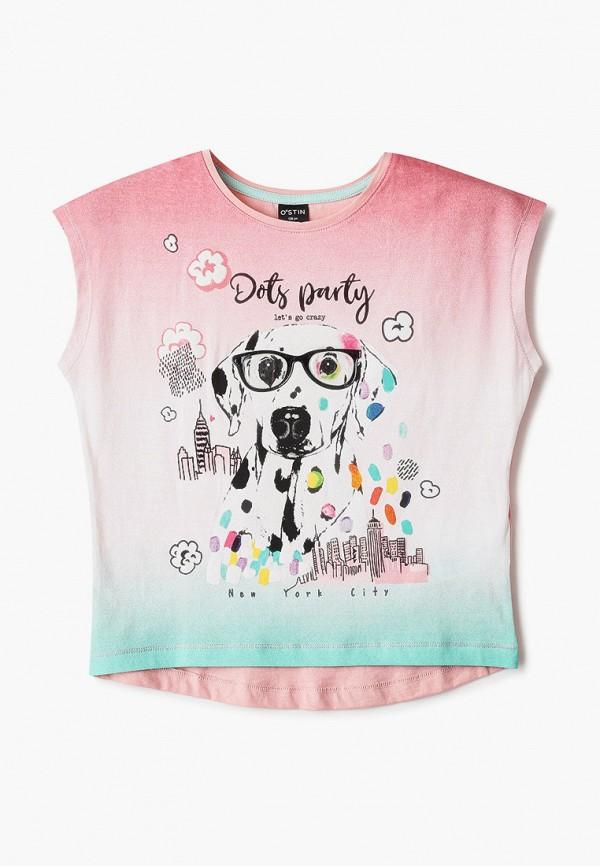 футболка с коротким рукавом o'stin для девочки, розовая