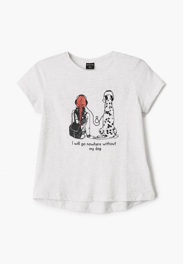 футболка с коротким рукавом o'stin для девочки, серая