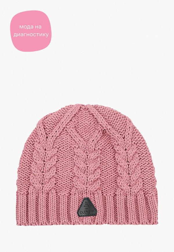 женская шапка outhorn, розовая