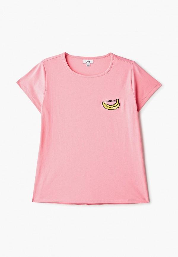 футболка с коротким рукавом ovs для девочки, розовая