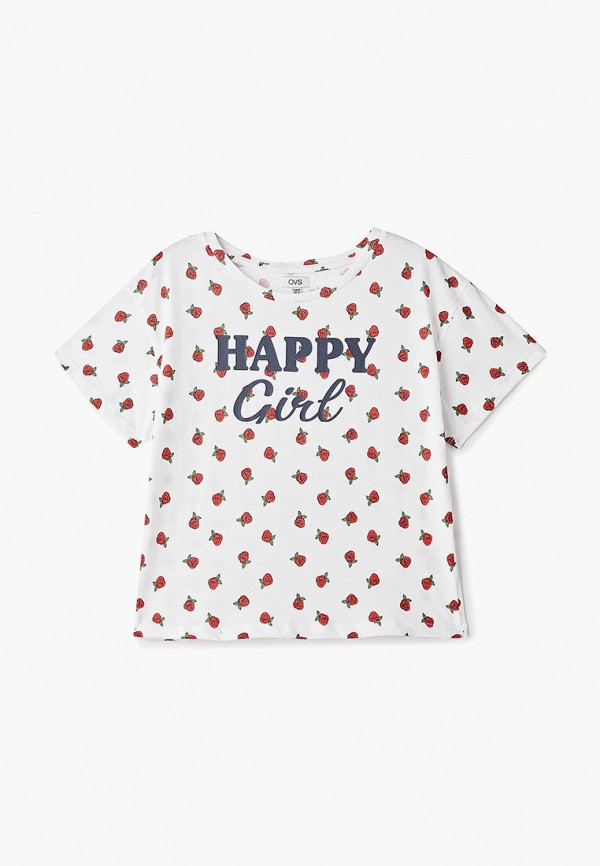 футболка с коротким рукавом ovs для девочки, белая