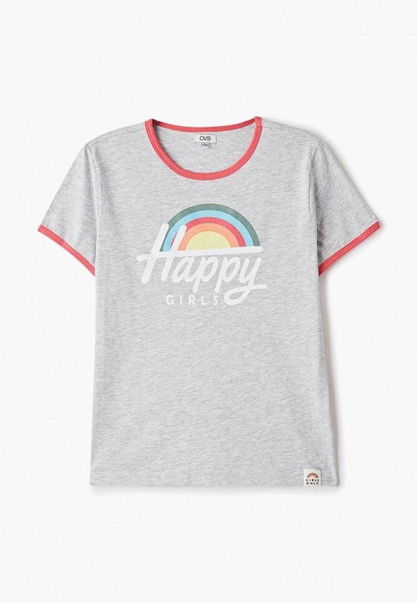 футболка ovs для девочки, серая