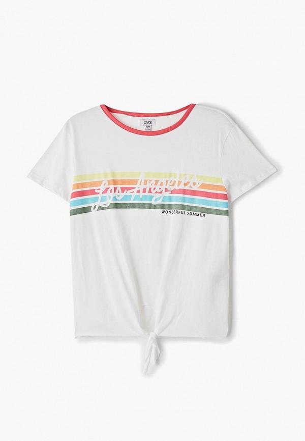 футболка ovs для девочки, белая