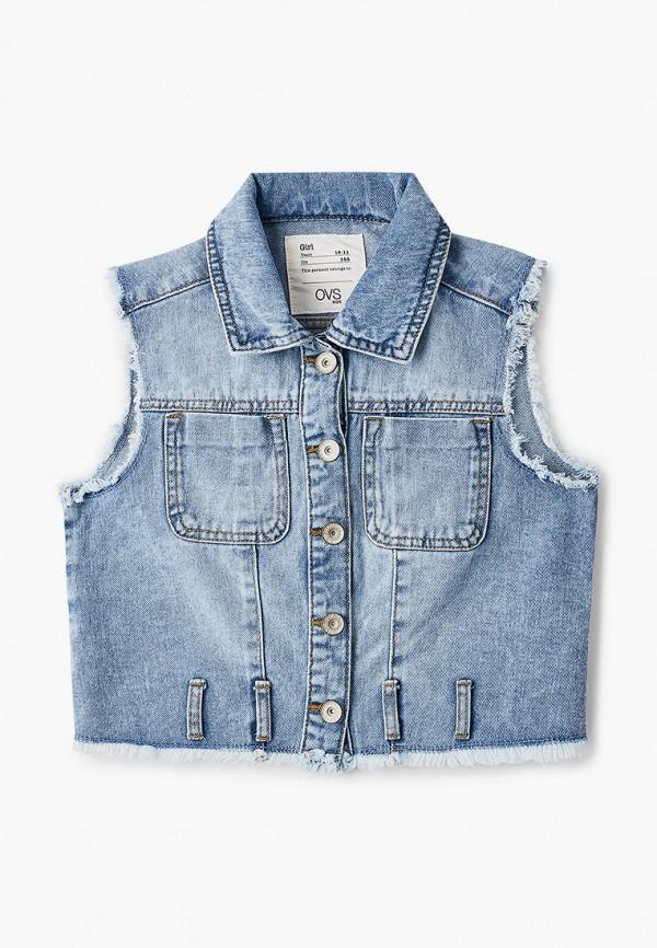 джинсовые жилет ovs для девочки, голубой
