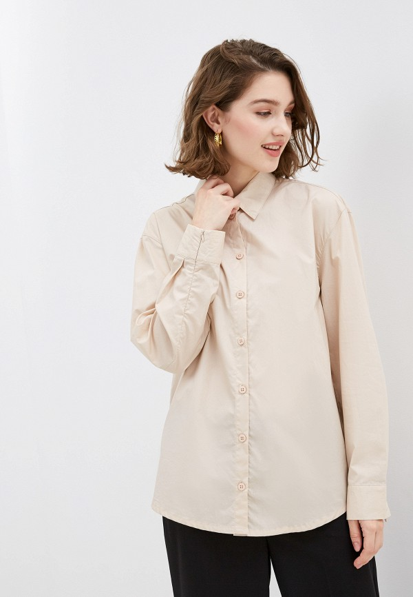 женская рубашка с длинным рукавом ovs, бежевая
