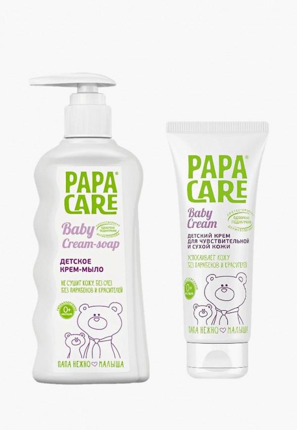 Купить Набор для ухода за телом Papa Care, Крем-мыло для детей 150 мл + крем для чувствительной кожи 100 мл ИН, pa073lkaypm6, прозрачный, Осень-зима 2018/2019