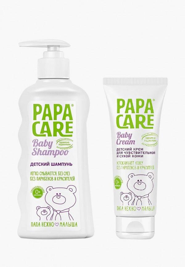 Купить Набор для ухода за телом Papa Care, Детский шампунь для волос 250 мл + крем для чувствительной кожи 100 мл, pa073lkaypm9, прозрачный, Осень-зима 2018/2019