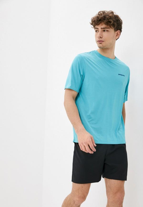 мужская спортивные футболка patagonia, бирюзовая
