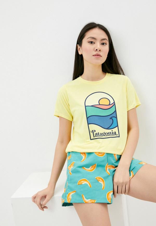 женская спортивные футболка patagonia, желтая