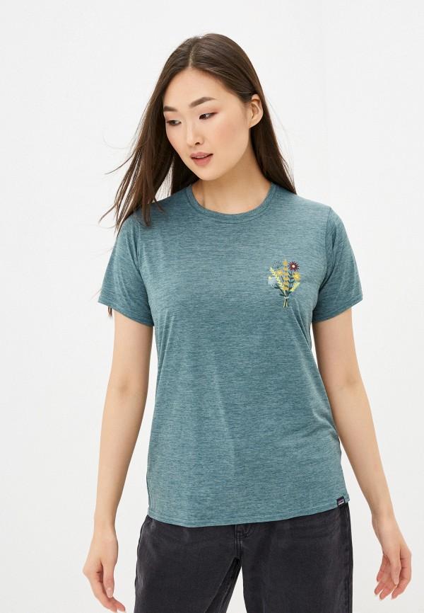 женская спортивные футболка patagonia, зеленая