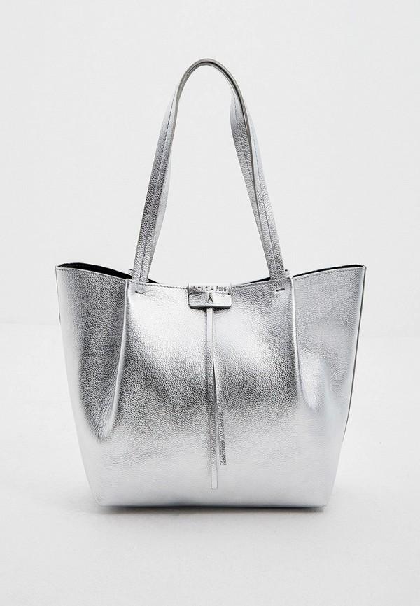 женская сумка patrizia pepe, серебряная
