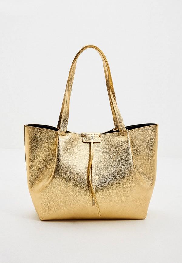 женская сумка с ручками patrizia pepe, золотая