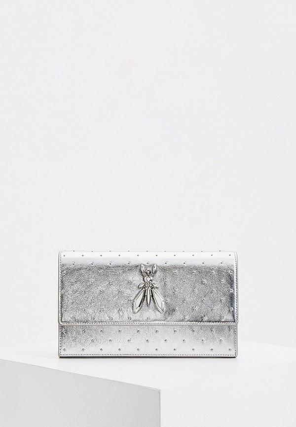 женская сумка через плечо patrizia pepe, серебряная