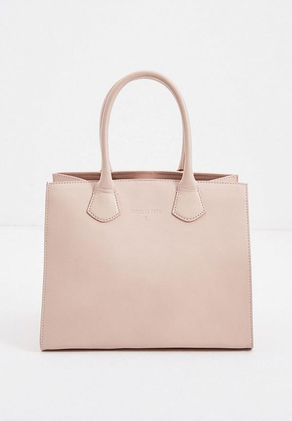 женская сумка с ручками patrizia pepe, розовая