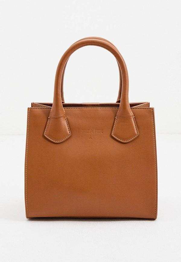 женская сумка с ручками patrizia pepe, коричневая