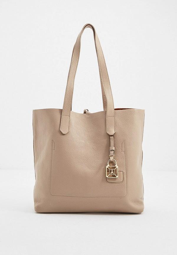 женская сумка с ручками patrizia pepe, бежевая