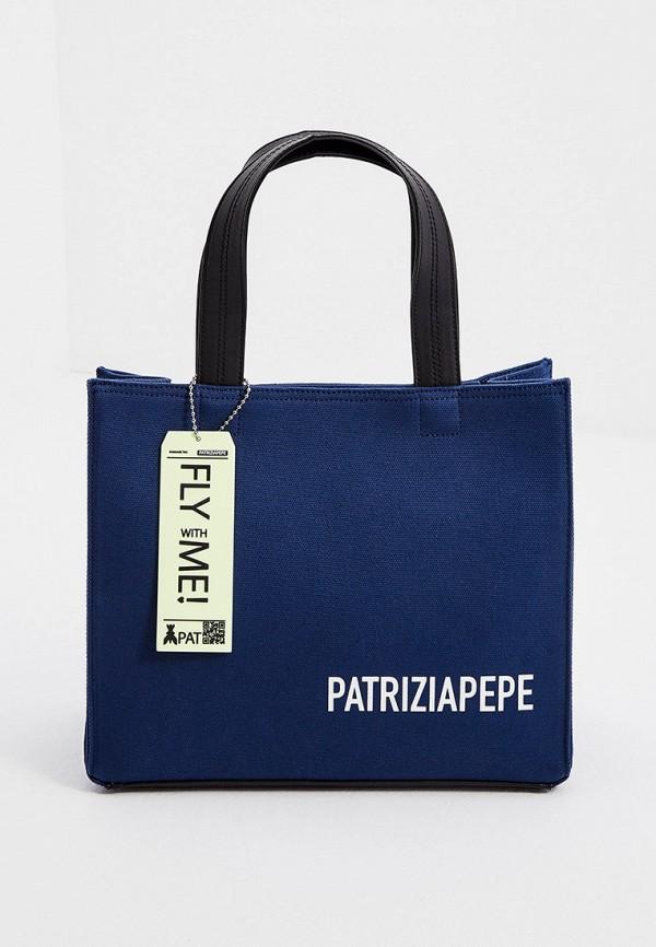 женская сумка с ручками patrizia pepe, синяя