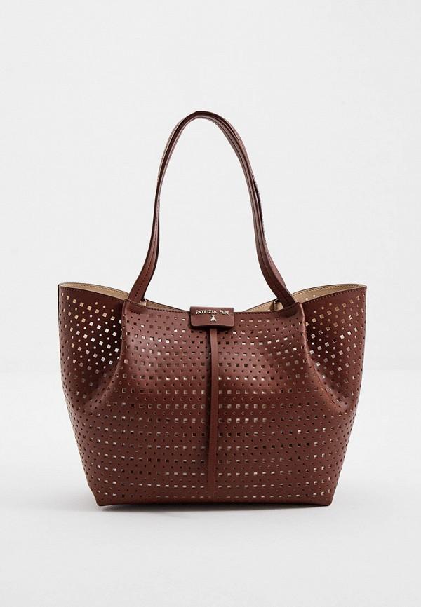 женская сумка patrizia pepe, коричневая