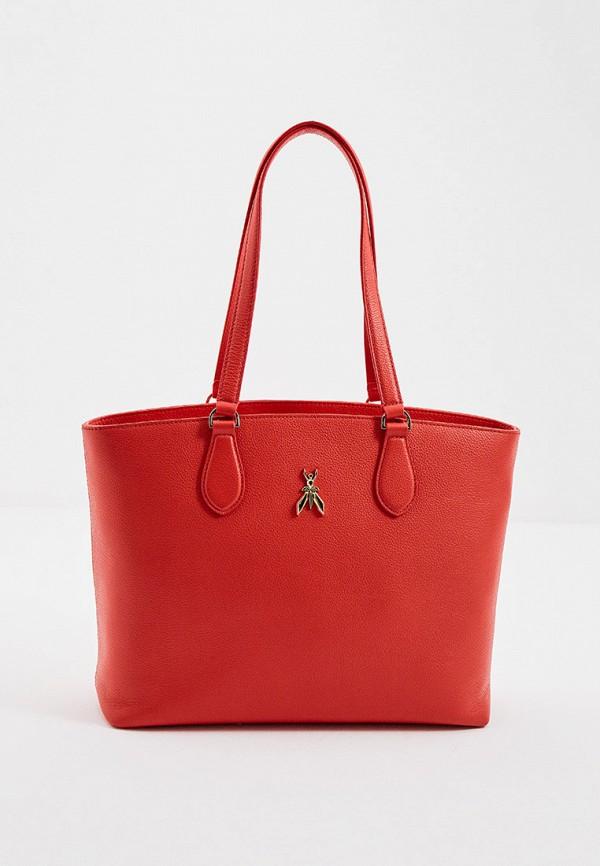 женская сумка с ручками patrizia pepe, красная