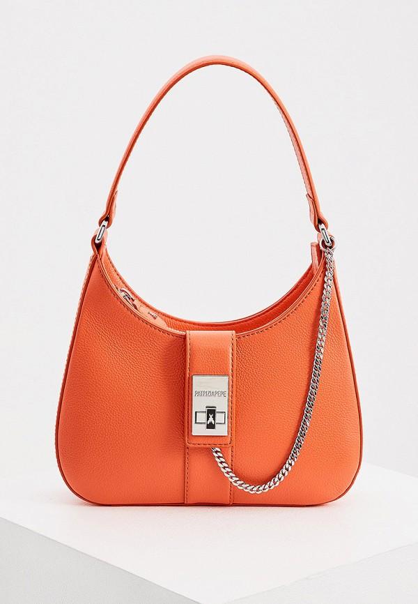 женская сумка с ручками patrizia pepe, оранжевая