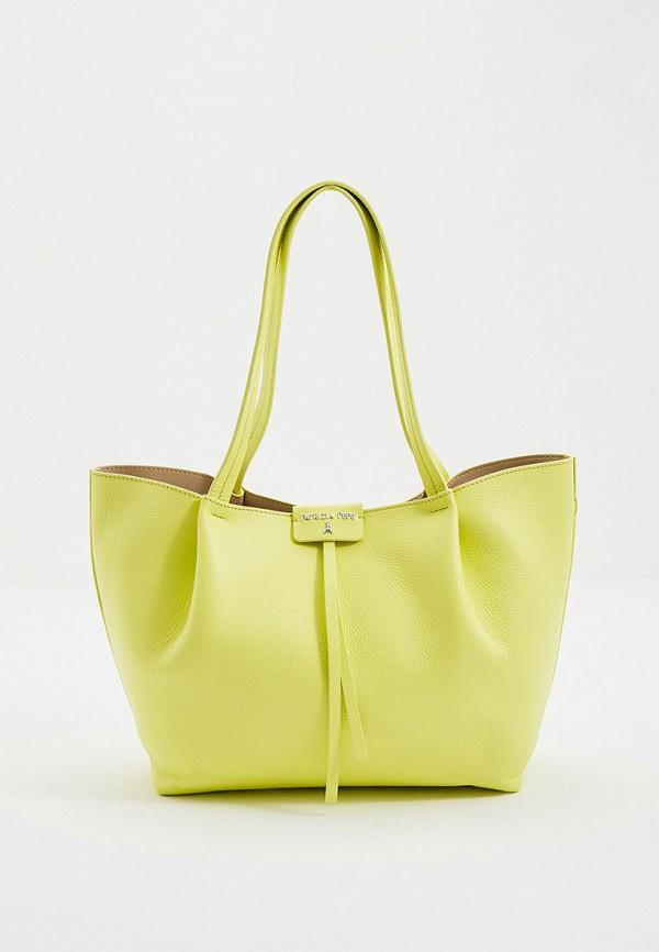 женская сумка с ручками patrizia pepe, желтая