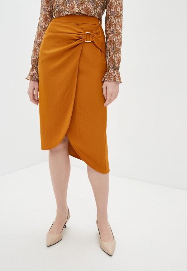 женская зауженные юбка patrizia pepe, оранжевая