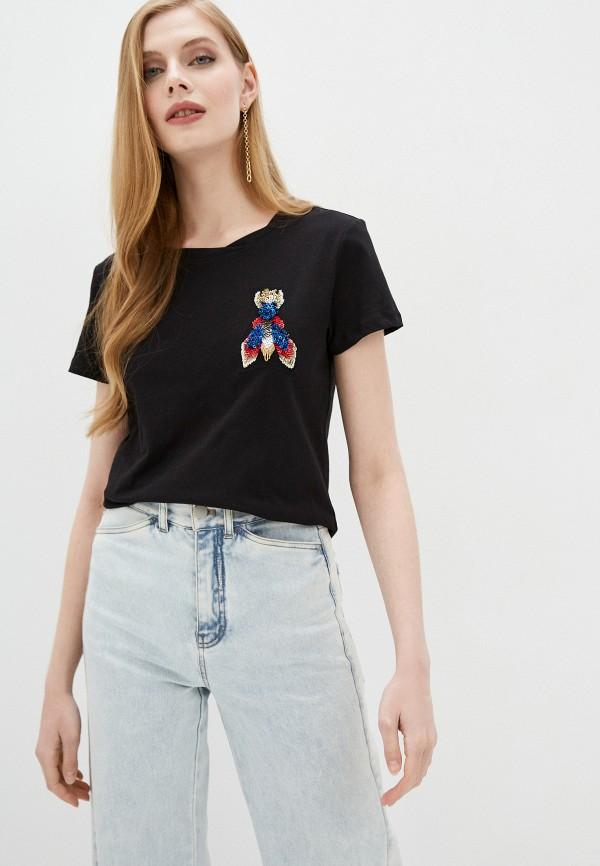женская футболка patrizia pepe, черная