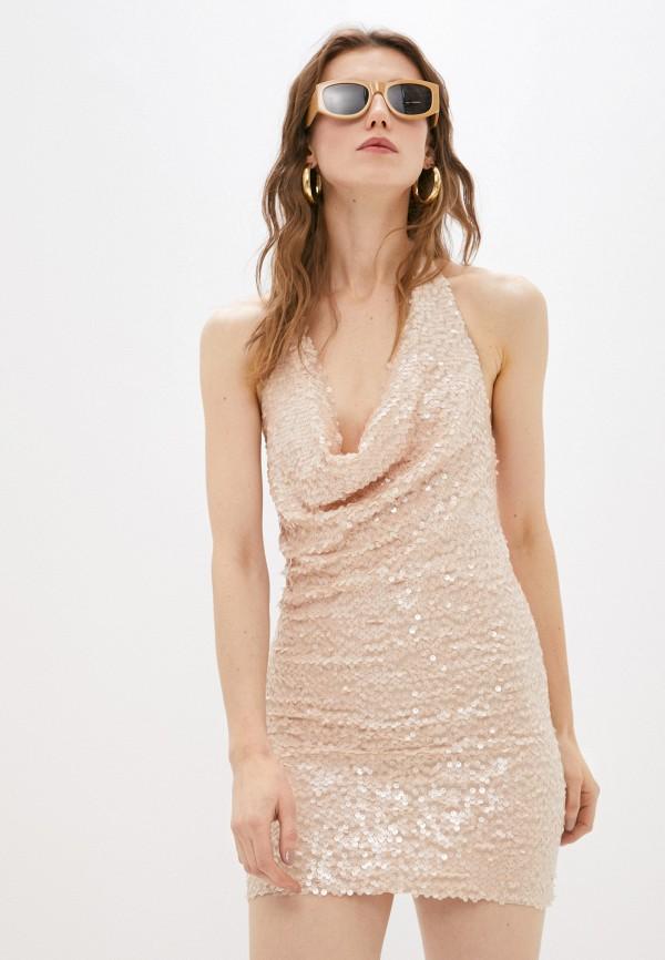 женское вечерние платье patrizia pepe, бежевое