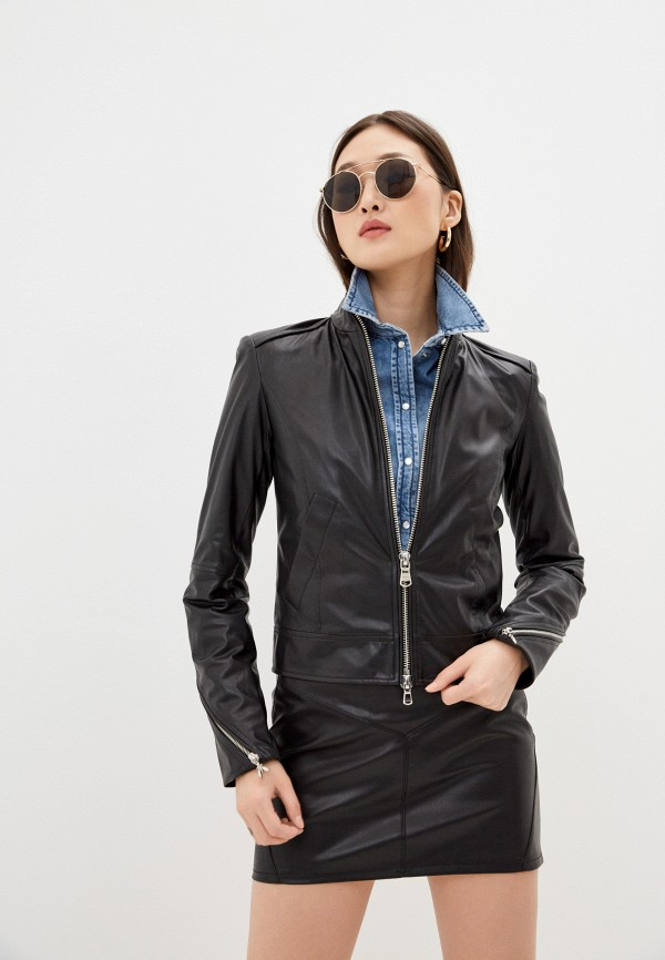 женская кожаные куртка patrizia pepe, черная