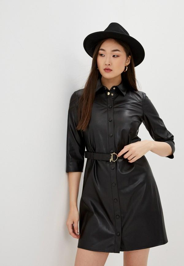 женское кожаные платье patrizia pepe, черное