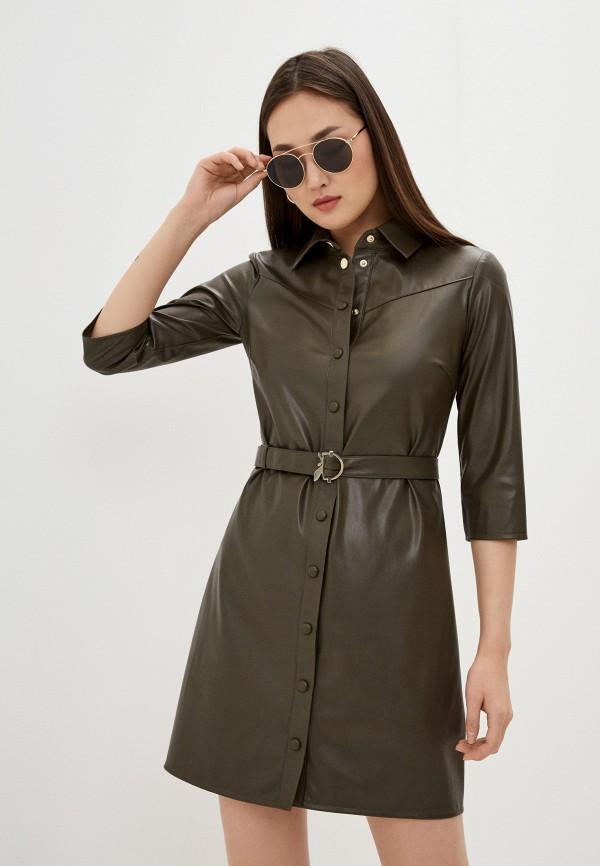 женское кожаные платье patrizia pepe, хаки