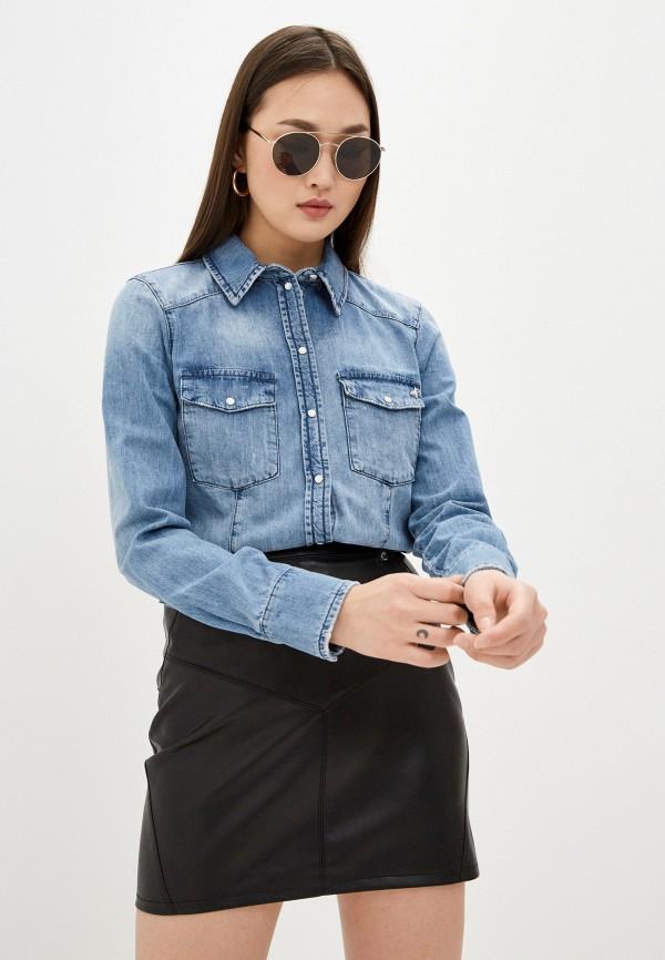 женская джинсовые рубашка patrizia pepe, голубая