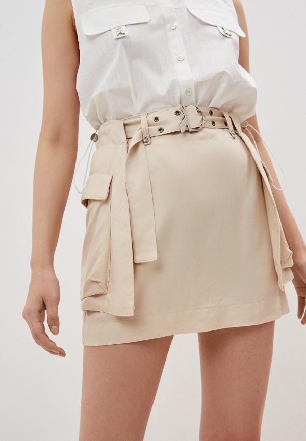 женская прямые юбка patrizia pepe, бежевая