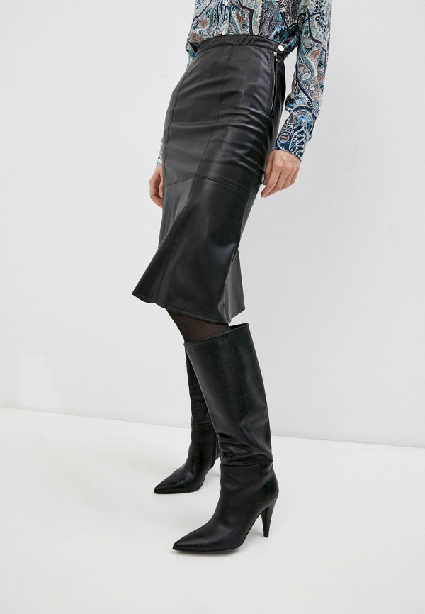 женская кожаные юбка patrizia pepe, черная