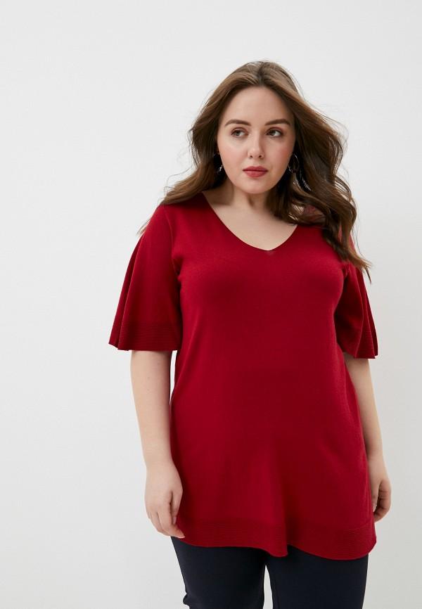 женский пуловер persona by marina rinaldi, бордовый