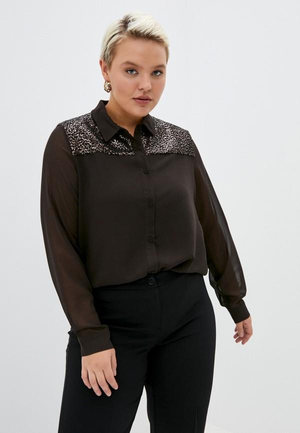 женская блузка persona by marina rinaldi, коричневая