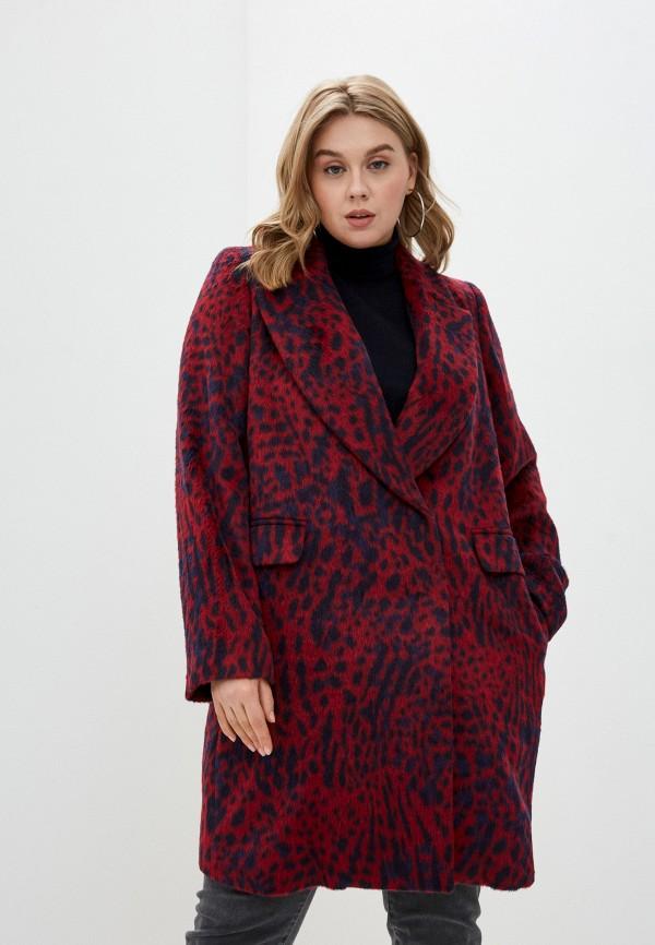 женское пальто persona by marina rinaldi, бордовое