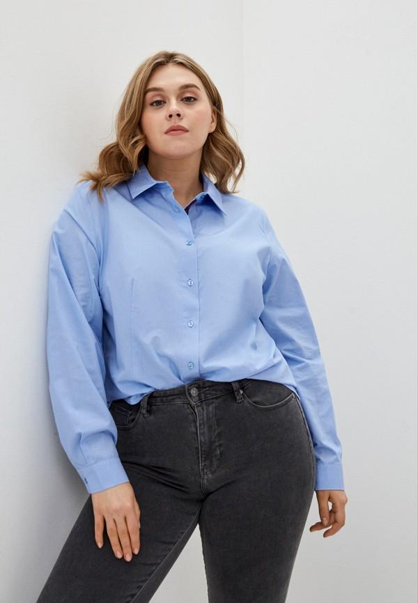 женская рубашка с длинным рукавом persona by marina rinaldi, голубая