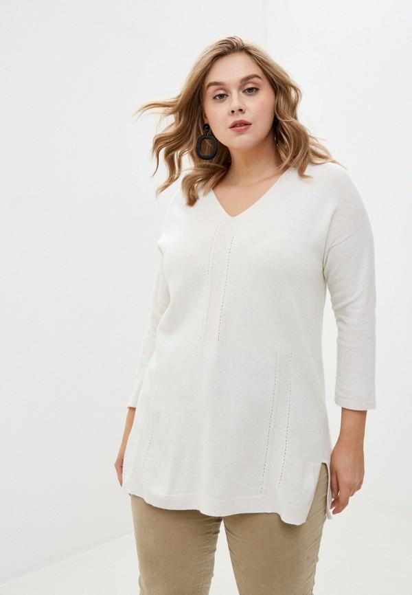 женский пуловер persona by marina rinaldi, белый