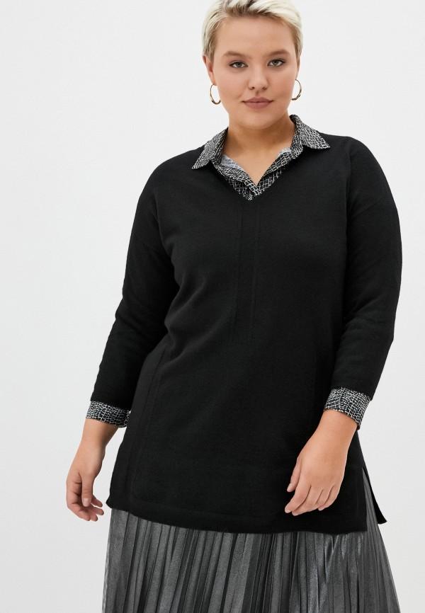 женский пуловер persona by marina rinaldi, черный