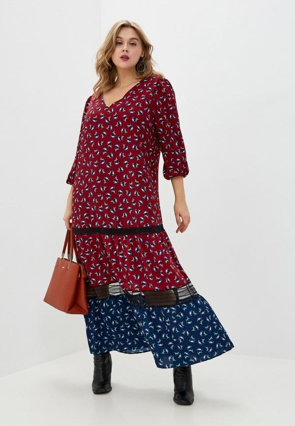 женское повседневные платье persona by marina rinaldi, бордовое