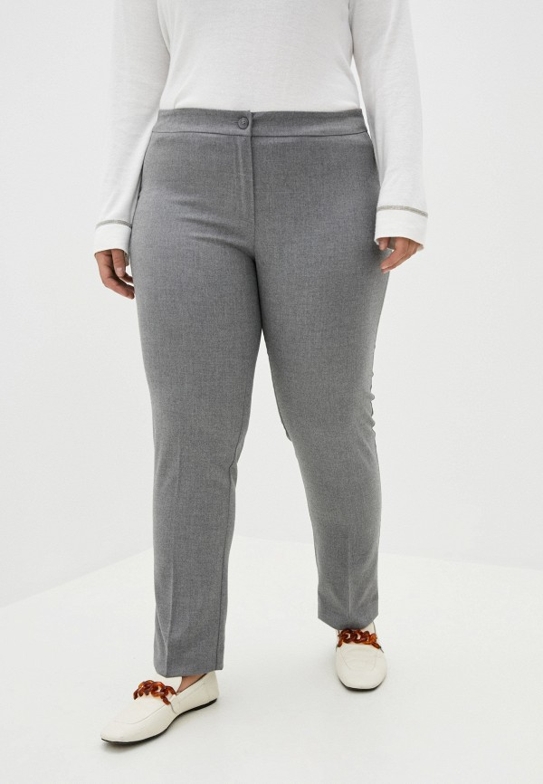 женские прямые брюки persona by marina rinaldi, серые