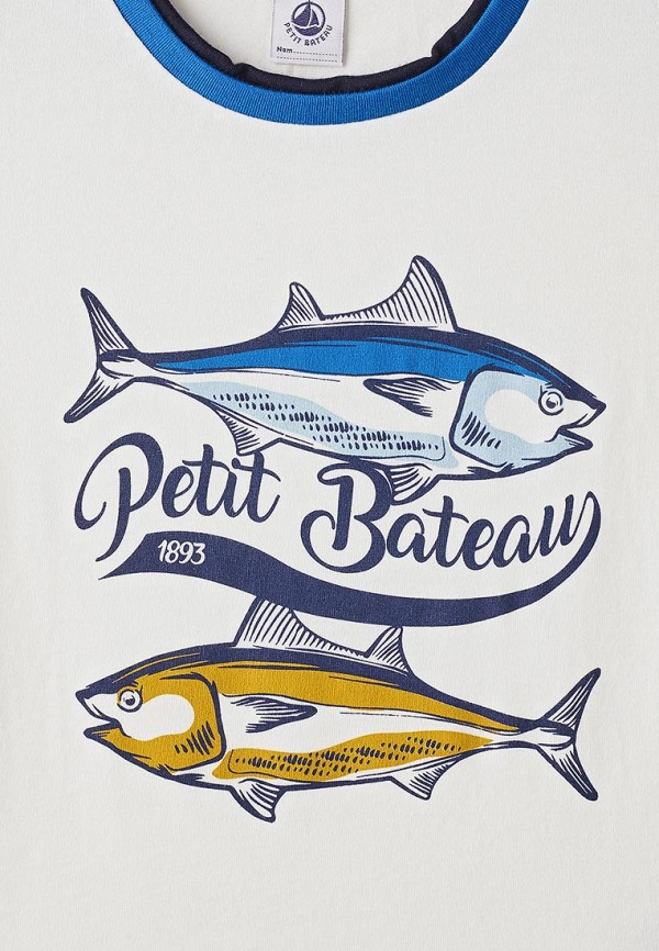 Фото 3 - Футболку Petit Bateau белого цвета
