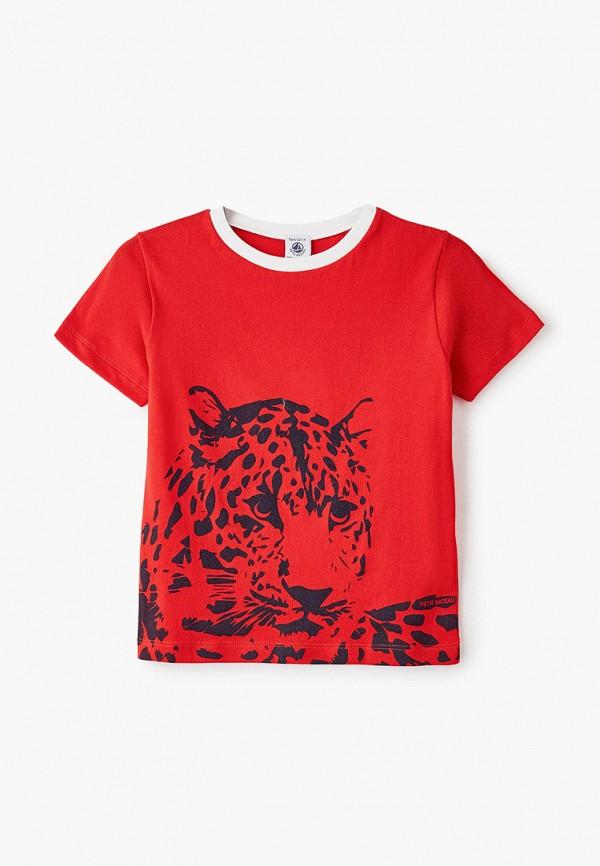 футболка с коротким рукавом petit bateau для мальчика, красная