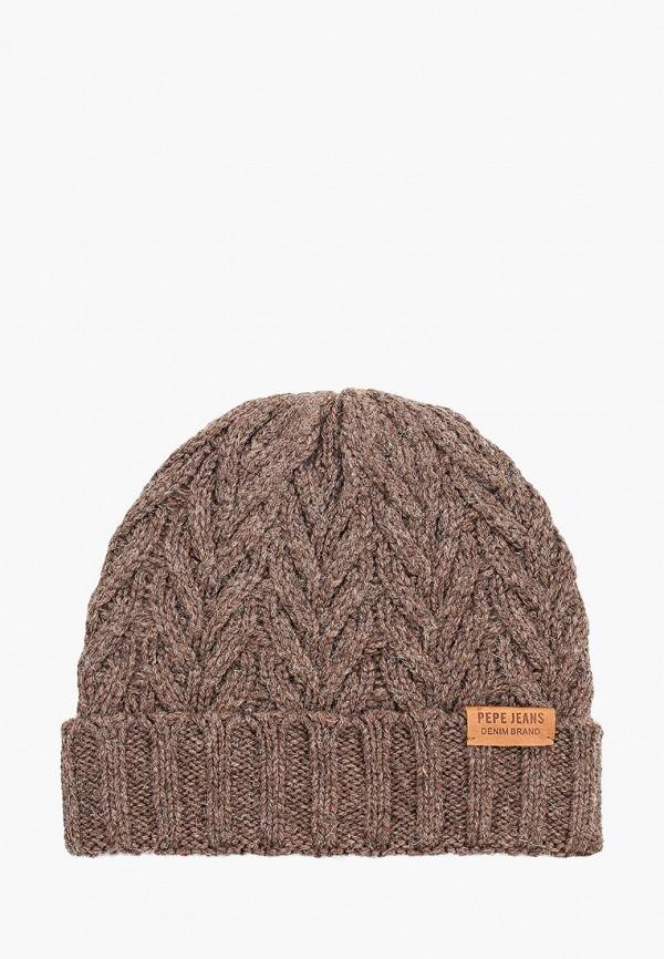 мужская шапка pepe jeans london, коричневая