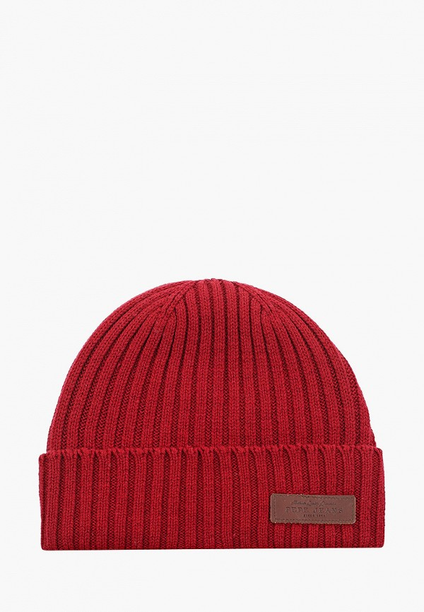 мужская шапка pepe jeans london, бордовая
