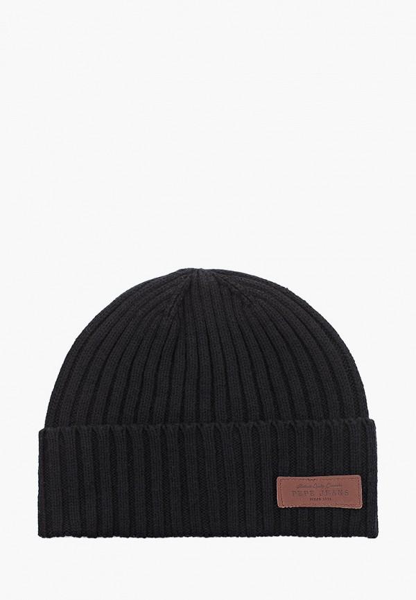 мужская шапка pepe jeans london, черная