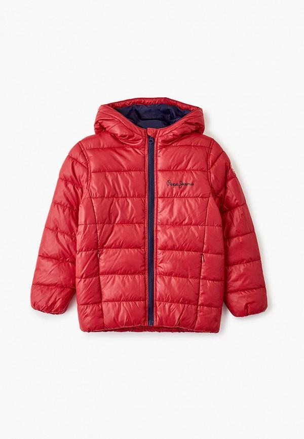 утепленные куртка pepe jeans london для мальчика, красная