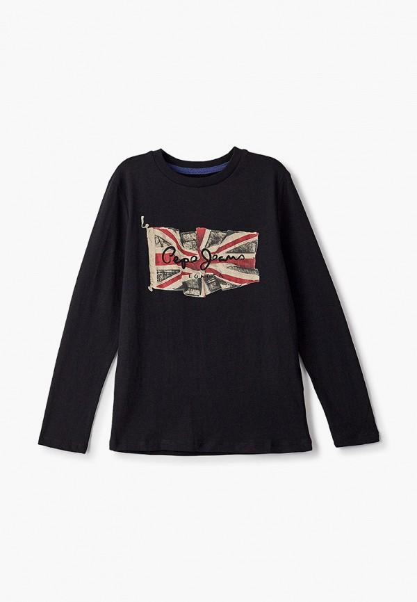 лонгслив pepe jeans london для мальчика, черный